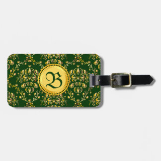 Damasco verde oscuro del oro medieval magnífico etiqueta para equipaje