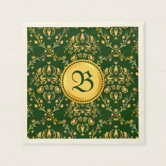 Damasco verde oscuro del oro medieval magnífico servilleta de papel
