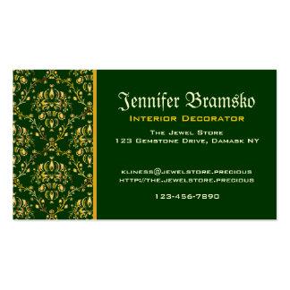 Damasco verde oscuro del oro medieval magnífico tarjetas de visita