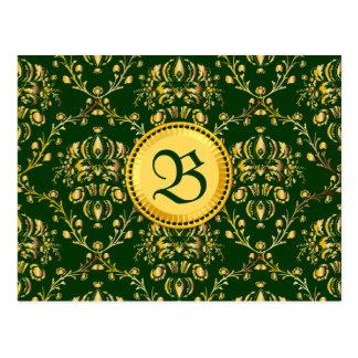 Damasco verde oscuro del oro medieval magnífico tarjetas postales