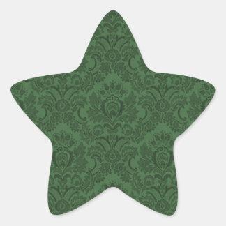 Damasco verde oscuro colcomanias forma de estrellaes personalizadas