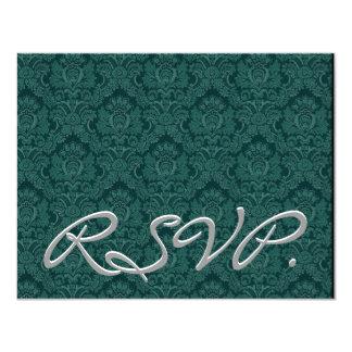 """Damasco verde Spruce RSVP que casa la tarjeta de Invitación 4.25"""" X 5.5"""""""