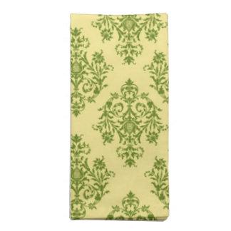 Damasco verde y amarillo modelado servilletas