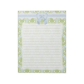 Damasco verde y azul elegante lamentable bloc de notas