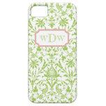 Damasco verde y blanco moderno y marco rosado polv iPhone 5 Case-Mate protectores