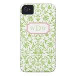 Damasco verde y blanco moderno y marco rosado polv Case-Mate iPhone 4 protectores