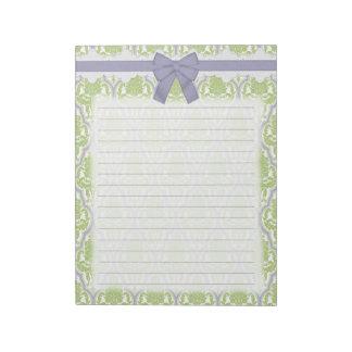 Damasco verde y de la lila elegante lamentable libreta para notas