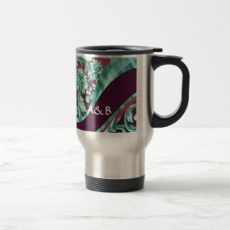 Damasco verde y magenta del trullo taza de café