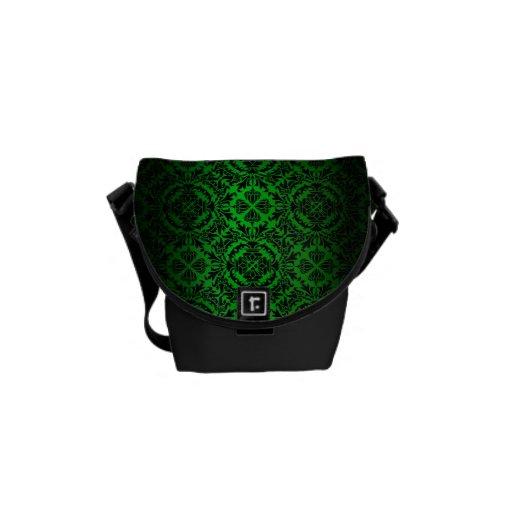 Damasco verde y negro #4 de la apariencia vintage bolsas messenger