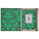 Damasco verde y negro iPad protector
