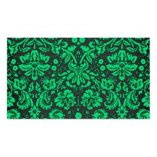 Damasco verde y negro plantillas de tarjeta de negocio