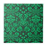 Damasco verde y negro teja  ceramica