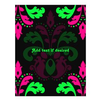 """Damasco verde y rosado de neón del vintage en folleto 8.5"""" x 11"""""""