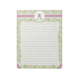 Damasco verde y rosado del monograma de encargo libretas para notas