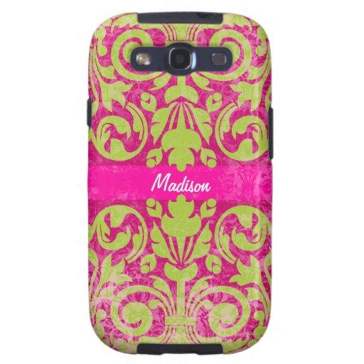 Damasco verde y rosado del vintage del Grunge pers Galaxy S3 Cobertura
