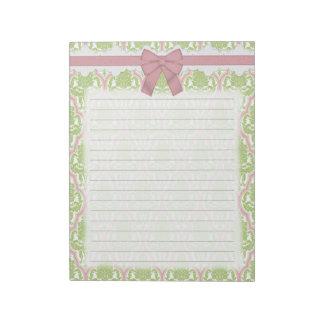 Damasco verde y rosado elegante lamentable libreta para notas