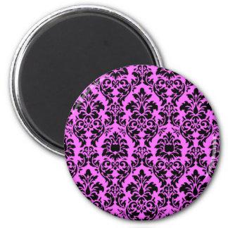 Damasco violeta y negro imán redondo 5 cm
