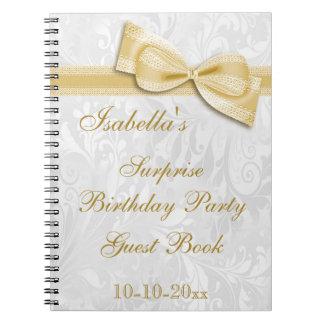 Damasco y arco de la fiesta de cumpleaños de la spiral notebooks