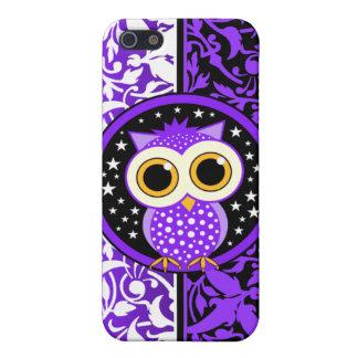 damasco y búho púrpuras iPhone 5 funda