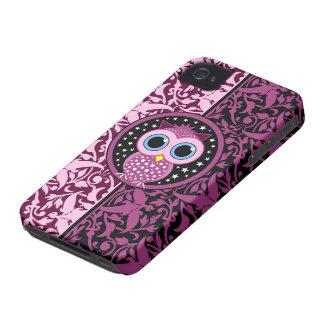 damasco y búho rosados carcasa para iPhone 4