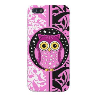 damasco y búho rosados iPhone 5 funda