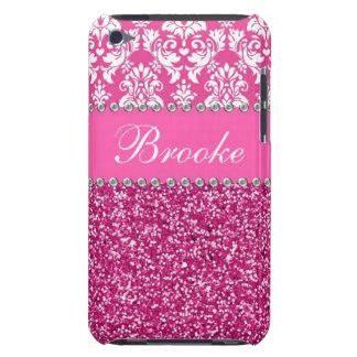 Damasco y caja rosados y blancos del diamante arti barely there iPod coberturas