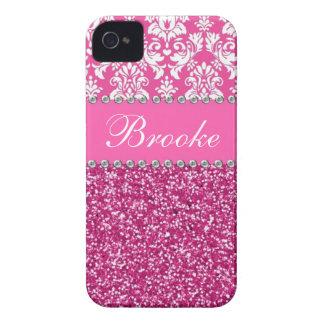 Damasco y caja rosados y blancos del diamante iPhone 4 cárcasas