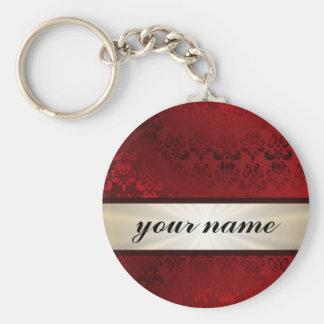 Damasco y cinta rojos llavero personalizado
