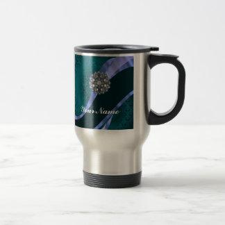 Damasco y cinta verdes del trullo tazas de café