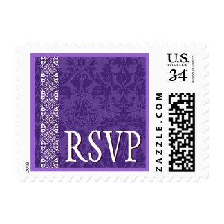 Damasco y cordón de la púrpura real que casan RSVP Franqueo