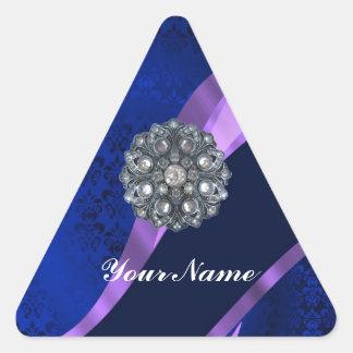 Damasco y cristal azules pegatina triangular