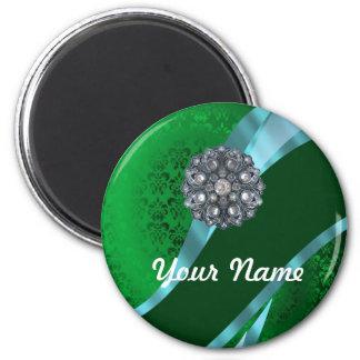 Damasco y cristal verdes imán redondo 5 cm