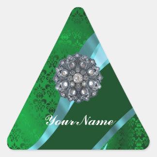Damasco y cristal verdes pegatina triangular