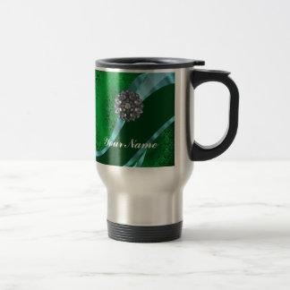 Damasco y cristal verdes tazas de café