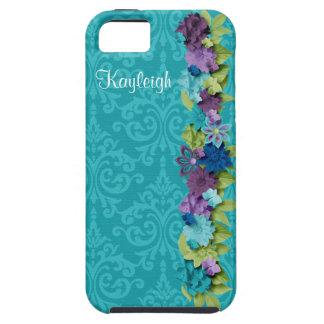 Damasco y flores de la turquesa funda para iPhone SE/5/5s