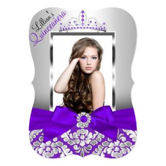"""Damasco y foto de plata púrpuras Quinceanera de la Invitación 5"""" X 7"""""""