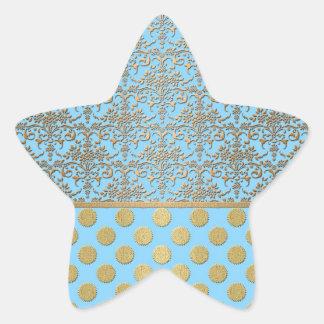 Damasco y lunares azules claros y del oro pegatina en forma de estrella