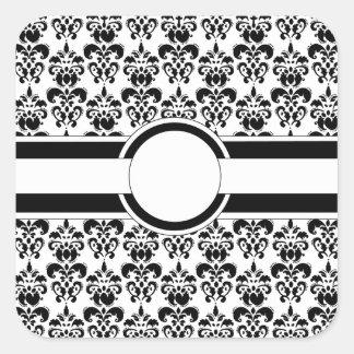 Damasco y monograma negros pegatina cuadrada