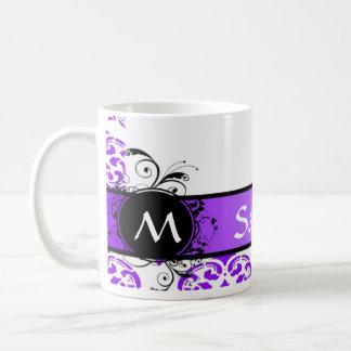 Damasco y monograma púrpuras taza básica blanca