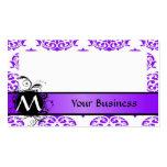 Damasco y monograma púrpuras y blancos tarjeta de visita