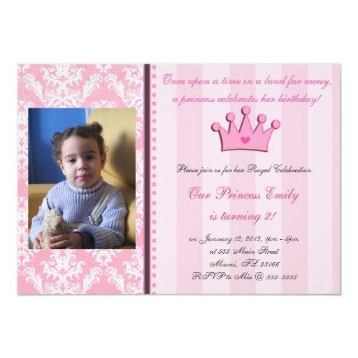Damasco y princesa rosados Photo Invitation de las Anuncio