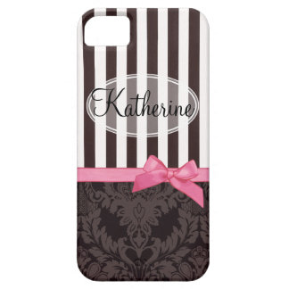 Damasco y rayas negros elegantes iPhone 5 Case-Mate carcasas