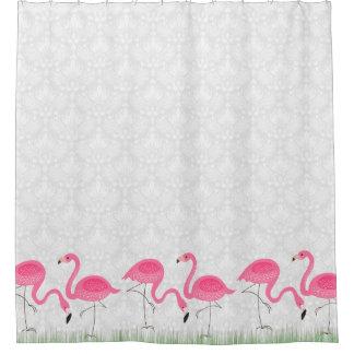 Damascos blancos y ejemplo rosado de los flamencos cortina de baño
