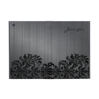 Damascos de aluminio y florales cepillados gris iPad mini cobertura