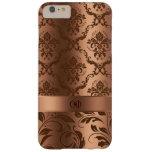 Damascos de cobre de Brown y monograma metálico de Funda De iPhone 6 Plus Barely There