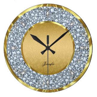 Damascos del oro y Brillo-Monograma chispeante de  Relojes