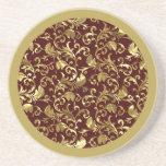 Damascos del vintage de Brown oscuro y del oro Posavasos Personalizados