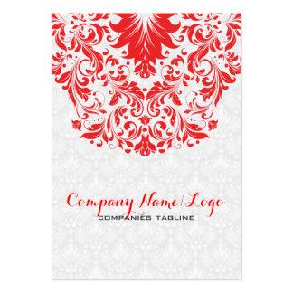 Damascos elegantes y cordón blancos y rojos tarjeta de negocio