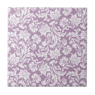 Damascos florales 2 del vintage blanco y púrpura azulejo cuadrado pequeño