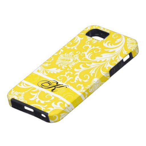 Damascos florales amarillos y blancos en colores p iPhone 5 carcasas